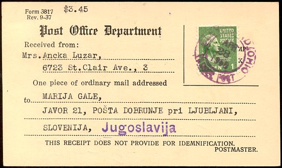 Certificate of mailing