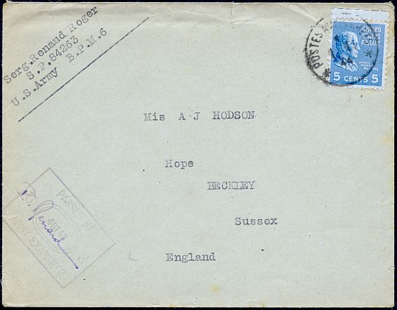 1944 allowed organizations of french soldiers attached to united states armed forces overseas to use united states domestic postal rates this letter